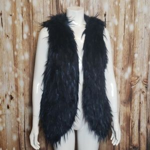 Skies are Blue blue-black faux fur vest